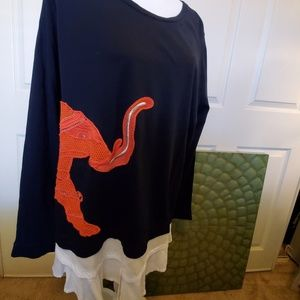 Crown & Ivy Embroidered Elephant Long Sleeve Top